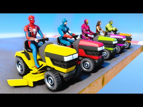 SpiderMan and Lawn Mowers with SUPERHEROES Captain America, Iron Man, Hulk Parkour Challenge - GTA 5