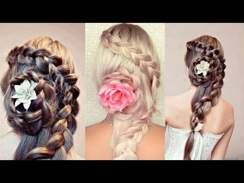 Braided wedding hairstyle for long hair Prom hair tutorial Rose flower updo for party