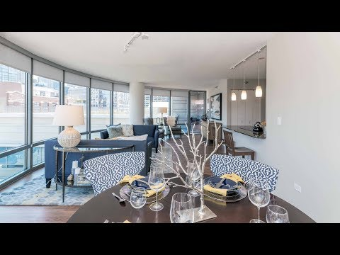 A 2-bedroom, 2-bath model at River North's Kingsbury Plaza apartments