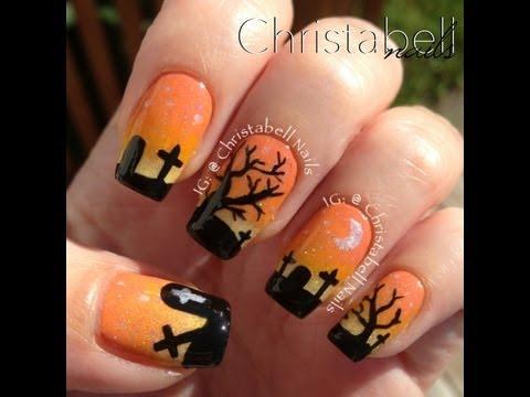 nail art - scena di halloween con cimitero