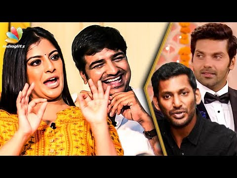 Mr. Chandramouli movie team - Actress Varalakshmi and Sathish - Punishment to Arya & Vishal