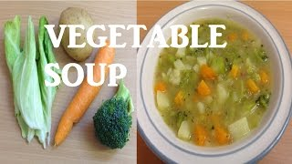 How to make Quick healthy and easy chunky vegetable soup with broccoli carrot potato and cabbage.