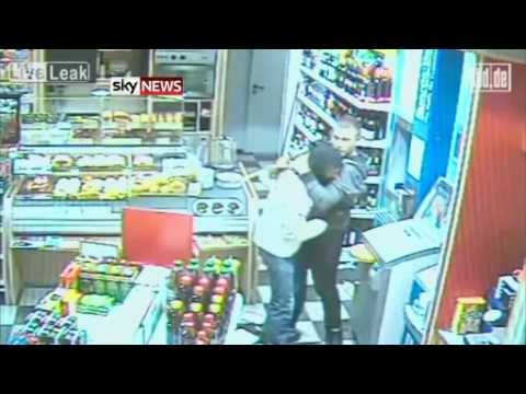 robber - CCTV of an armed robber being beaten up and then consoled by his would-be victim has been released in Germany. The footage shows the masked suspect initially...
