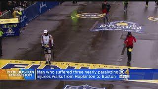 Video Man Paralyzed 3 Times Walks Boston Marathon Route MP3, 3GP, MP4, WEBM, AVI, FLV Juli 2018