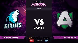 [RU] Team Sirius vs Alliance, Game 1, StarLadder ImbaTV Dota 2 Minor S2 Playoffs