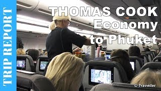 A flight Review (Tripreport) of our flight on a Thomas Cook Airlines Airbus A330-200 ( aircraft registration: G-OMYT ) from Copenhagen to Phuket, Thailand. The aircraft we flew with belonged to the Thomas Cook Airlines UK fleet, even though we were flying with Thomas Cook Scandinavia. This flight review begins at Copenhagen Airport (Københavns Lufthavn) where the viewer follows us around the airport from Check-in to Boarding of our Thomas Cook Airlines flight to Phuket in Thailand. Once onboard the viewer joins us (Maxi and Maro) through our flight where we cover things like the inflight lavatories (this Thomas Cook Airlines Airbus A330-200 is quite unique as it has 5 lavatories located in it´s lower deck), the inflight Entertainment System (we cover what footage is available such as inflight movies, inflight TV shows and USB access and what type of headset can connect into the audio socket. This service costs money and we discuss the price and how to use the access codes too), the Inflight Meals  (pre-ordered at a charge) & the Inflight Drinks (all drinks including water, non-alcoholic and alcoholic drinks have to be purchased), the Economy Class Cabin layout (we have a look at the Economy Class seats and this aircraft's has a 2-4-2 seat layout ). The viewer of course has a view of the Pushback and takeoff from Copenhagen and the approach and landing of this Thomas Cook Airlines Scandinavia aircraft at Phuket International Airport in Phuket, Thailand. The video ends where the view can read our Flight Review and thoughts on this flight flown by a Thomas Cook Airlines UK aircraft for Thomas Cook Airlines Scandinavia.This Thomas Cook Airlines Flight Review footage is filmed at Copenhagen Airport (CPH) in Denmark and onboard a Thomas Cook Airlines Airbus A330-200 (belonging to the Thomas Cook Airlines UK aircraft fleet with aircraft registration G-OMYT ) and flown on behalf of Thomas Cook Airlines Scandinavia. This Thomas Cook Airlines Trip Report also includes footage