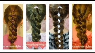 How To Four (4) Strand Braid Tutorial - YouTube