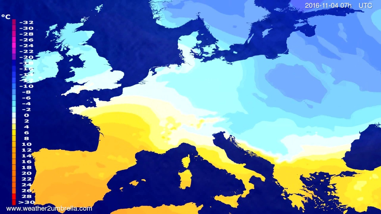 Temperature forecast Europe 2016-10-31