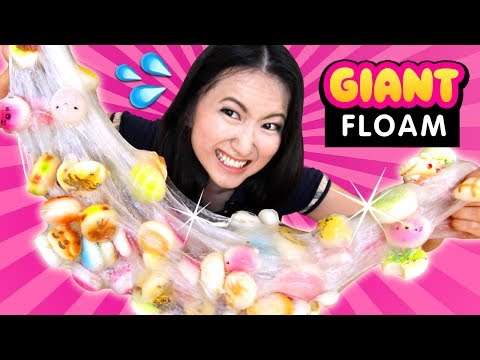 DIY GIANT FLOAM Slime with 100 SQUISHIES!!! Giant ASMR Slime Squishing!