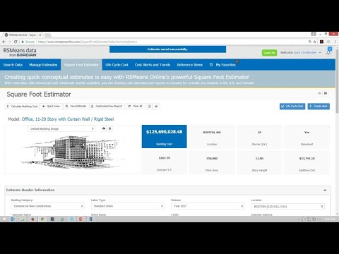 RSMeans Data Online Square Foot Estimator