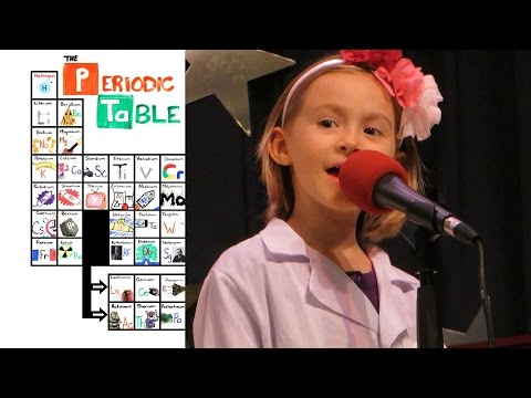 """6yo Girl sings """"The NEW Periodic Table Song (In Order)"""" at talent show"""