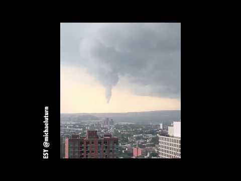 Funnel cloud over New York Harbor
