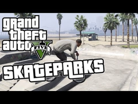 GTA 5 - 3 Skatepark Locations On Grand Theft Auto V - Half Pipes, Bowls, Ramps!