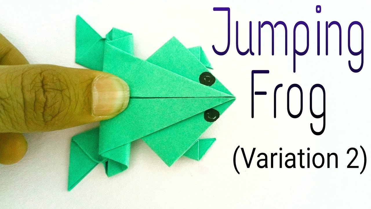 Action fun toys paperfolds origami arts and crafts how to make a paper traditional jumping frog varialtion 2 action fun origami tutorial jeuxipadfo Images