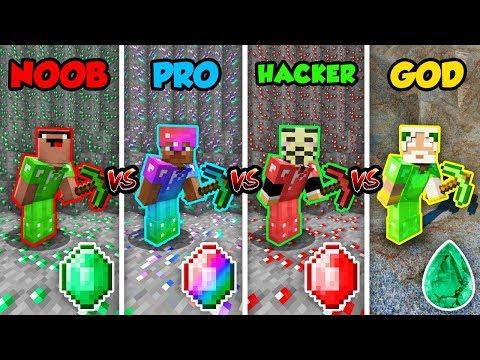 Minecraft NOOB vs. PRO vs. HACKER vs. GOD: EMERALD BATTLE in Minecraft! (Animation)