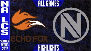 Echo Fox vs Team Envy Highlights ALL GAMES - Week 6 NA LCS Summer 2017 - FOX vs NV FULL SERIESNALCS teams: Dignitas, Fly Quest, TSM, EnVyUs, Phoenix 1, CLG, Liquid, Echo Fox, Immortals, Cloud9NA LCS Spring 2017 playlist: https://www.youtube.com/watch?v=6Nat_jBUPyE&list=PLJwuLHutaYuLhpm8EMj2AyWxhS4xEFKn4☻All games spoiler free with stats and infographs at Stage: https://stage.gg/► All other previous tournaments: http://bit.ly/1WBqwLzKazaLoLLCShighlights -  bringing you fast highlights of LCS, LCK, LPL and LMS League of Legends Esports Matches every day♡♡♡♡♡♡♡♡♡♡♡♡♡♡♡♡♡♡♡♡♡♡♡♡♡♡♡♡♡♡✉ Social media below - Follow for regular updatesⓕⓑ  KazaGamez  ►http://on.fb.me/1N5j0EHⓖ+                            ►http://bit.ly/1Bpjrbaⓣⓦⓘⓣⓣⓔⓡ      ►Twitter      -  http://bit.ly/1BkVAtGⓣⓦⓘⓣⓒⓗ          ►Livestream: http://bit.ly/1BpjzYdⓓⓞⓝⓐⓣⓔ          ►Paypal: http://bit.ly/1cBU6JnSubscribe: http://bit.ly/1oZa2wJ