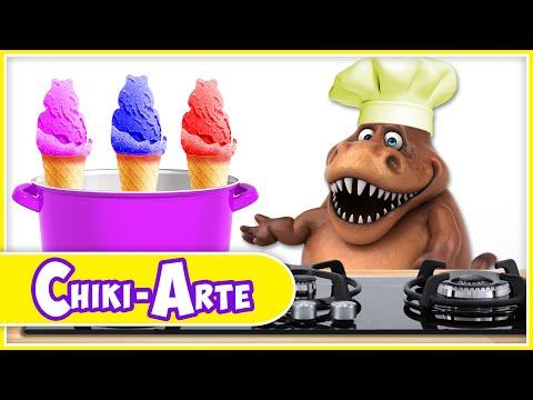 Chiki-Arte Aprende a Dibujar | Un Dinosaurio Cocinero Hace Helados de Colores