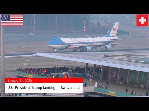 Air Force 1 POTUS Trump landing Zurich WEF 2020 + Marine One 7 ship formation