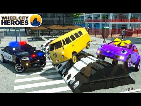 Street Vehicles Stuck in Obstace. Police Car Help. Wheel City Heroes New Cars Cartoon