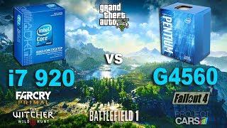 Pentium G4560 vs i7 920 Test in 6 Games (GTX 1060)Games:Grand Theft Auto V Battlefield 1 - 01:58Fallout 4 - 03:43The Witcher 3 - 05:34Project Cars - 07:25Far Cry Primal - 09:24System: Windows 10Intel Pentium g4560 3.5GhzAsus Z170-PRAM DDR4 2400MhzIntel i7 920 2.6GhzASUS P6TRAM DDR3 1600MhzGTX 1060 6Gb16Gb RAM