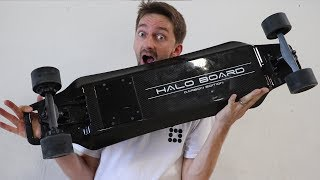 We have skated several electric boards now and this one was pretty rad. It got up to 22MPH, which is the fastest we have skated.Thanks so much to Halo for sponsoring this video, it was a total blast to make and we love getting to skate these boards!Check out the Halo board here:https://www.haloboard.com/pages/halo-boardWe want you to skate with us!  Come to our Skate party and our Summer Camp!  Tickets for purchase through the link:https://www.brailleskateboarding.com/shop/http://www.brailleskateboarding.com/how-to-skateboard/YOU CAN LEARN TO SKATEBOARD! CLICK ABOVE TO GET THE MOST DETAILED HOW TO SKATEBOARD LESSON PLAN EVER MADE!  SKATEBOARDING MADE SIMPLE!GET SKATEBOARDING MADE SIMPLE ON iBOOKS! https://itunes.apple.com/us/artist/aaron-kyro/id733499725?mt=11GET SKATEBOARDING MADE SIMPLE ON GOOGLE PLAY https://play.google.com/store/books/details/Aaron_Kyro_Skateboarding_Made_Simple_Vol_1?id=8BEbBQAAQBAJSkateboarding Made Simple on Amazon: https://www.amazon.com/Skateboarding-Made-Simple-Braille-Aaron/dp/B01LYPOIVP/ref=sr_1_1?ie=UTF8&qid=1482278130&sr=8-1&keywords=skateboarding+made+simpleFOLLOW ON SOCIAL MEDIAINSTAGRAM https://instagram.com/brailleskate/FACEBOOK: http://www.facebook.com/BrailleSkateboardingGOOGLE +: https://plus.google.com/107594784940938640430TWITTER: http://twitter.com/#!/BrailleSkateFor general inquiries email contact@brailleskateboarding.comFor business, brand or media inquiries please email jen@brailleskateboarding.comCHECK OUT OUR WEBSITE FOR ALL THE LATEST BRAILLE NEWS AND UPDATES!!! http://www.brailleskateboarding.comTHUMBS UP FOR MORE VIDEOS!PLAYLISTS LINKS FOR MOBILE USERSlearn to skate: http://www.youtube.com/playlist?list=PL34F060CE1BA3E968SKATE SUPPORThttp://www.youtube.com/playlist?list=PL2E1C0A94C6B6CEBB&feature=view_allCLIPPEDhttp://www.youtube.com/playlist?list=PLjpsoptsN4KCS-4mngnS8xM4ZXwpn60NQ&feature=view_allslow motionhttp://www.youtube.com/playlist?list=PLC8009736C487A442&feature=viewalltop videoshttp://www.youtube.com/playlis