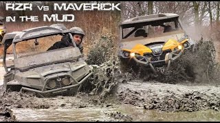 4. Stock Can-Am Maverick XMR vs Stock Polaris RZR XP in the Mud - Bighorns vs Silverbacks  in the mud
