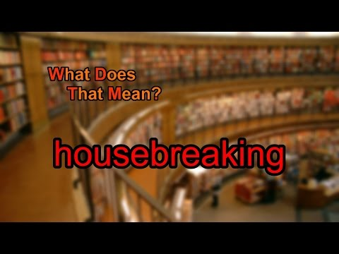 What does housebreaking mean?