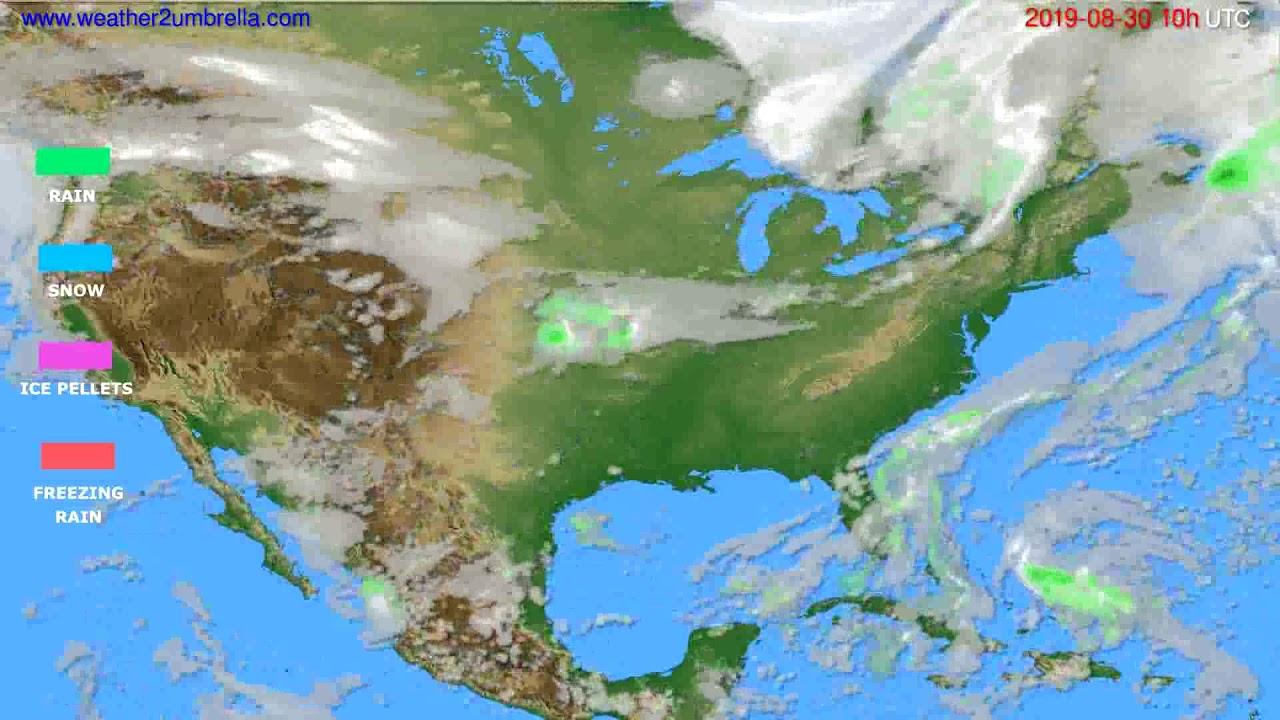 Precipitation forecast USA & Canada // modelrun: 00h UTC 2019-08-28
