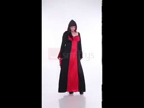Déguisement robe de magicienne noire et rouge