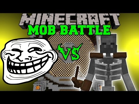 TROLL MOD VS MUTANT SKELETON, SKELE-TON & MORE - Minecraft Mod Battle - Mob Battles - Mods