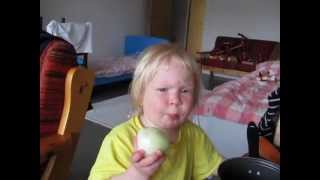 Russian Toddler Eats Onion Like Apple