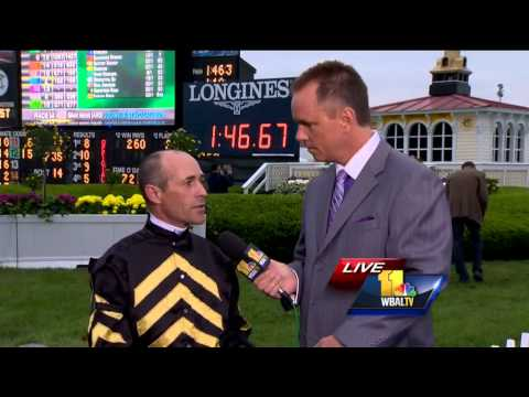 gary - Oxbow jockey Gary Stevens talks with WBAL-TV's Gerry Sandusky after winning the Preakness Stakes at 50 years of age.