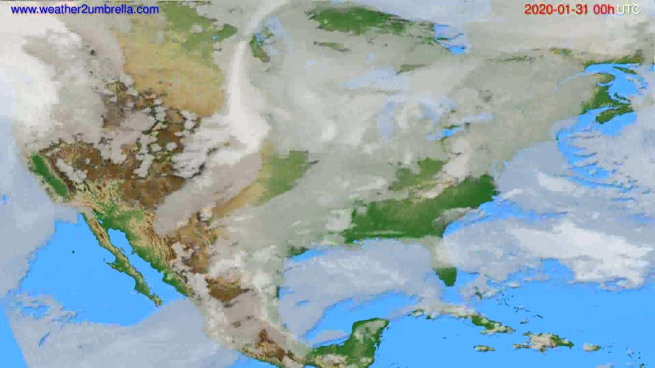 Cloud forecast USA & Canada // modelrun: 00h UTC 2020-01-30