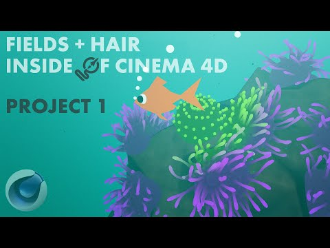 Fields + Hair Cinema 4D Tutorial: Sea Anemone видео