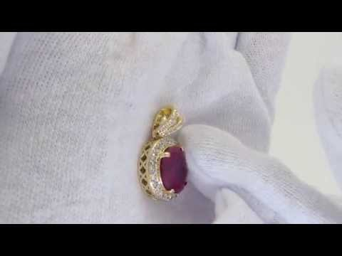 Lab Ruby Oval Gold Bling Bling Pendant   Rick Ross Jewelry Style