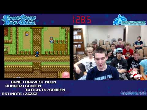 Harvest Moon (series) - Run starts at 01:15. Speed run of the 1996 game Harvest Moon, the first in the series. Game #75 at Summer Games Done Quick 2013, played by Go1den. Follow SDA...
