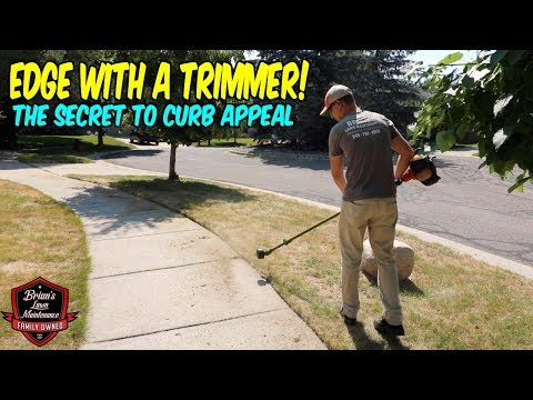 How To Edge With A Trimmer!! ► The Secret To Curb Appeal ► Edging Sidewalks! #Lawncare (видео)
