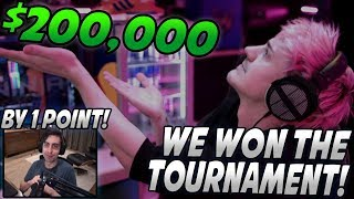 Ninja FREAKS OUT After Winning The $200,000 Apex Legends Tournament By 1 POINT! (Beat Shroud & Tim)