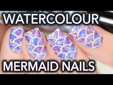 nail art watercolour mermaid