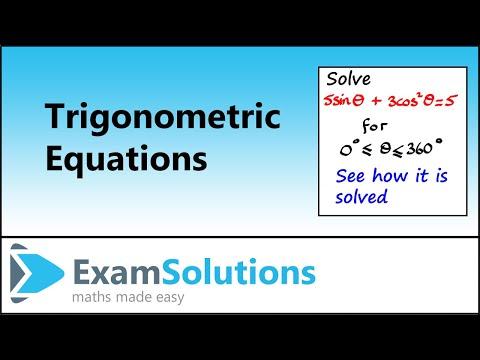 Trigonometrie: Lösen von Gleichungen mit Identitäten (Beispiel 3): ExamSolutions