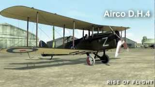 "Airco D.H.4 short flight with full gun ammo load and 20% fuel load (about 50 litres). Ingame graphics and sound. And amazing ingame physics simulation of course.All airplane specifications are here:http://riseofflight.com/en/store/planes/Airco_DH4Free version of ""Rise of Flight"" is available here:http://riseofflight.com/tryrof/en"