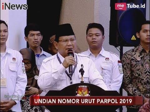 Sambutan Beberapa Ketum Parpol dalam Penutupan Pengundian Nomor Urut Pemilu - Breaking News 18/02