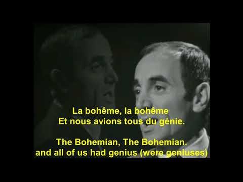 Charles Aznavour La Boheme avec Paroles français with English lyrics