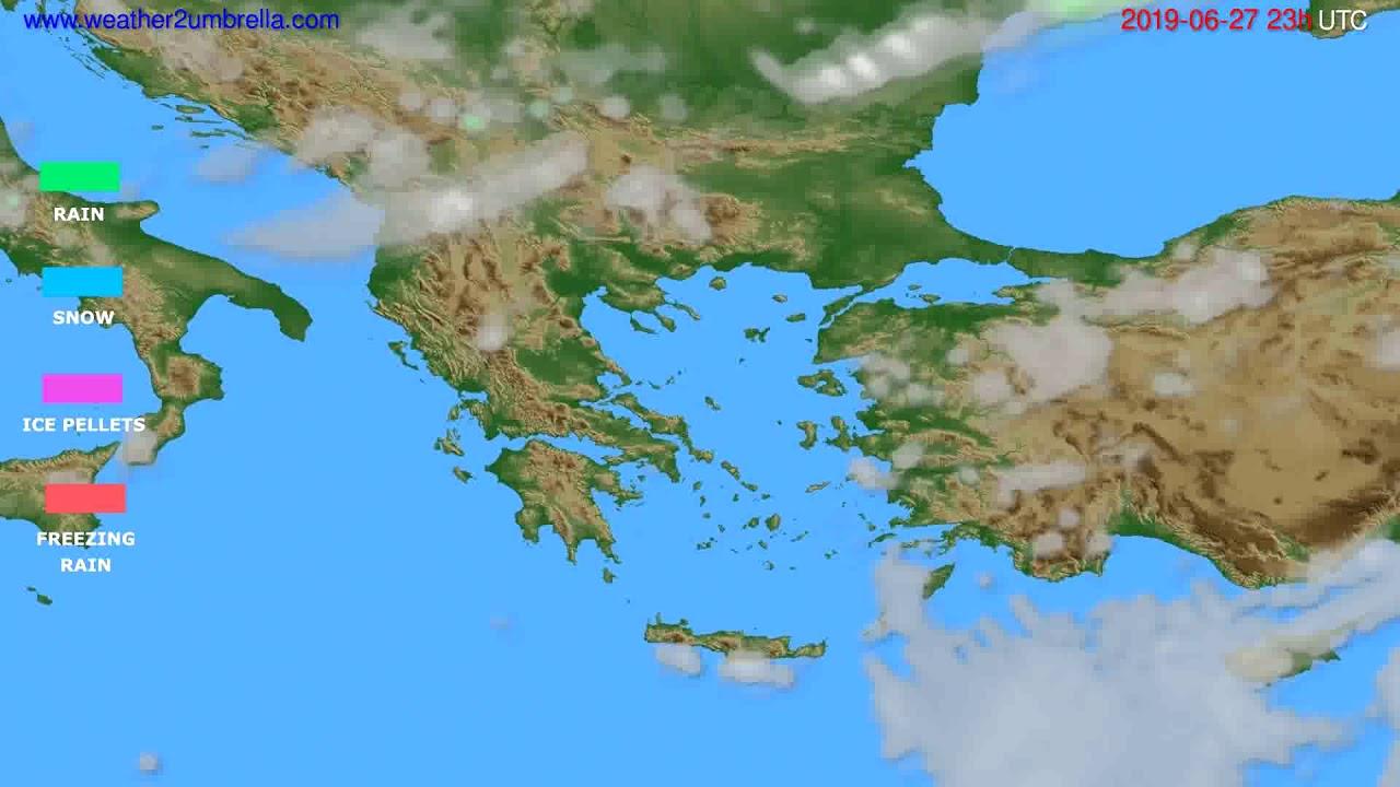 Precipitation forecast Greece // modelrun: 12h UTC 2019-06-24
