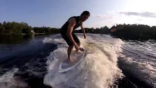 9. Wakesurfing behind jetski