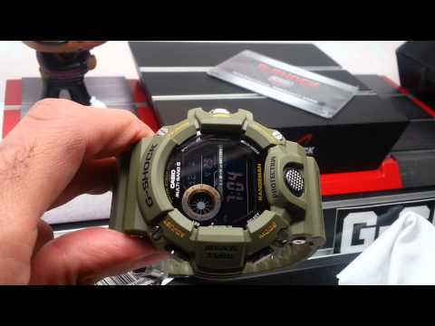 G-shock THROUGH review Rangeman GW-9400-3CR unboxing features