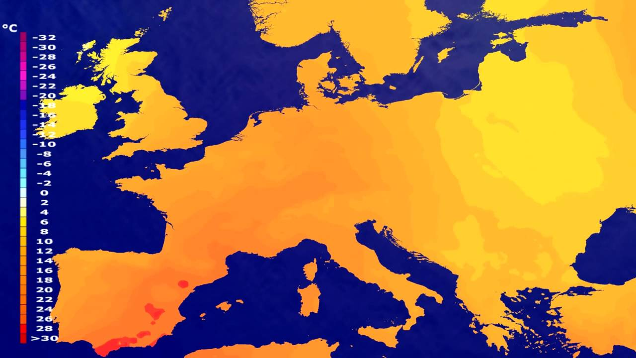 Temperature forecast Europe 2016-07-17