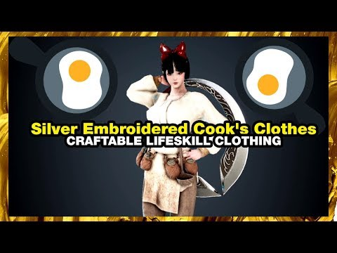 BLACK DESERT ONLINE Silver Embroidered Cook's Clothes Ninesaur ✨ NINESAUR