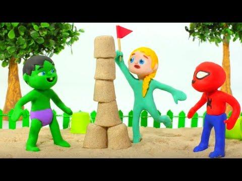 SUPERHERO BABIES PLAY AT THE SANDBOX  Spiderman, Hulk & Frozen Play Doh Cartoons For Kids