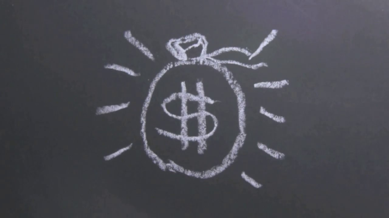 Illustration of a bag of money in chalk.